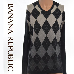 Silk Cashmere L/S Argyle Diamond V-Neck Sweater